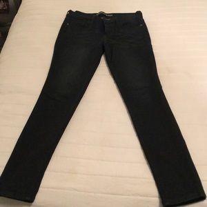 Express dark blue wash skinny jeans